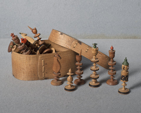 A Nuremberg Toy Chess Set, 19th century