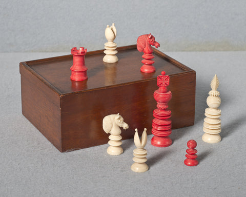 A Lund Pattern Ivory Chess Set, circa 1850