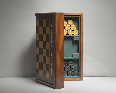 A Mahogany and Ivory Games Board/Box