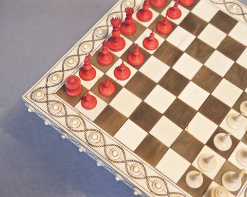 Miniature Indian Chess Table, 19th century