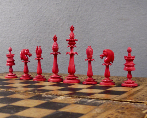 Fine English Ornamental Chess Set, circa 1840