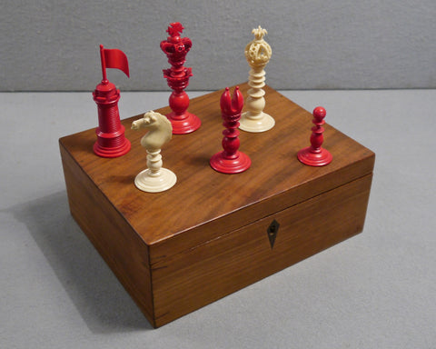 English Ornamental Chess Set, 19th century