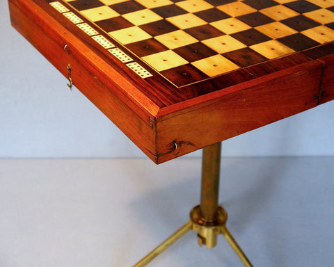 "Rare ""Campaign"" Chess Table, circa 1840"