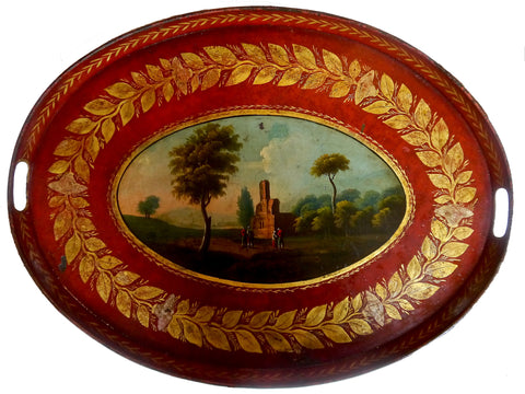Regency Red & Gilt Tole Tray, circa 1810