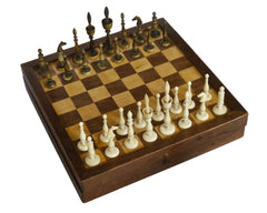 "German ""Selenus"" Chess Set & Board, Early 19th Century"