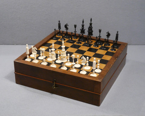 "A ""Selenus' Chess Set & Board, 19th century"