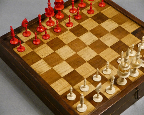"""Selenus"" Chess Set & Board, 19th century"