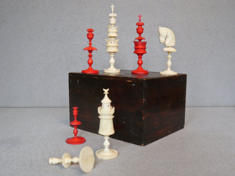 "German ""Selenus"" Bone Chess Set, circa 1800"