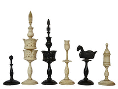 Rare Selenus Biedermeier Chess Set, circa 1830
