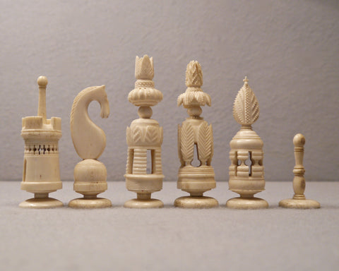 """Spanish Pulpit"" Bone Chess Set, circa 1800"
