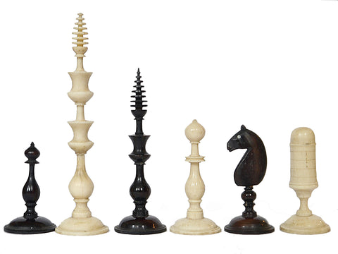 Antique Biedermeier 'Spindle' Chess Set