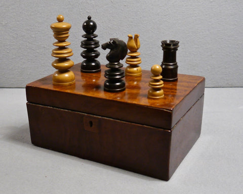 """Old English"" Ebony Chess Set, 19th century"