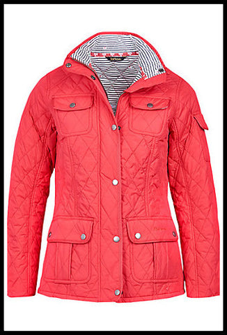 Barbour Buryhead Ladies quilted jacket in red LQU0614RE31 shape