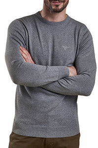 Barbour Sweater-Pima Cotton-Crew Neck-Grey Marl-MKN0932GY51 arms