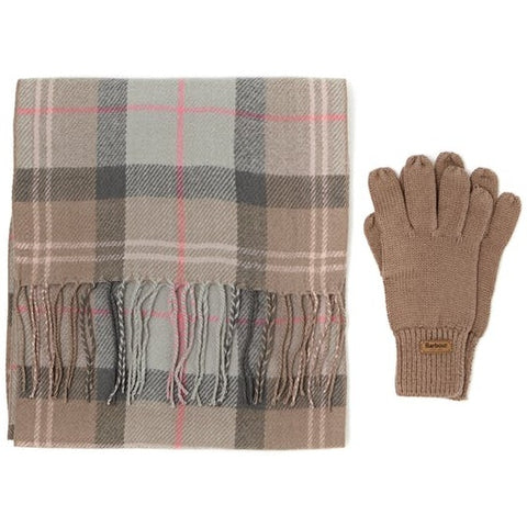 Barbour Scarf and Knitted Glove-Gift Set-Taupe/Pink Tartan-LAC0192BE91 2 piece