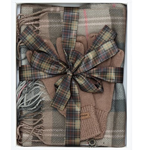 Barbour Scarf and Knitted Glove-Gift Set-Taupe/Pink Tartan-LAC0192BE91