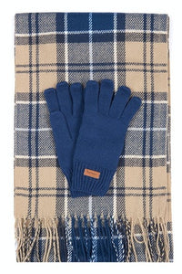 Barbour Christmas Set-Scarf and Gloves-Tempest Blue Trench-LGS0026BL311