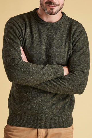 Barbour Sweater-Tisbury Crew Neck-Forest Green-MKN0844GN91 arms