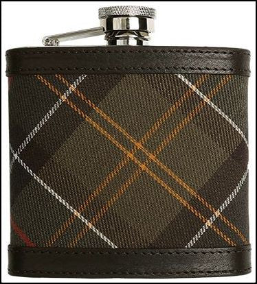 Barbour Hip Flask- Classic tartan -leather trims UAC0007BR11