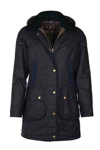Barbour Bower Ladies Wax Jacket - Navy - LWX0534NY92