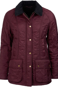 Barbour Beadnell Polarquilt Jacket In Aubergine /Purple and Black LQU0471PU94
