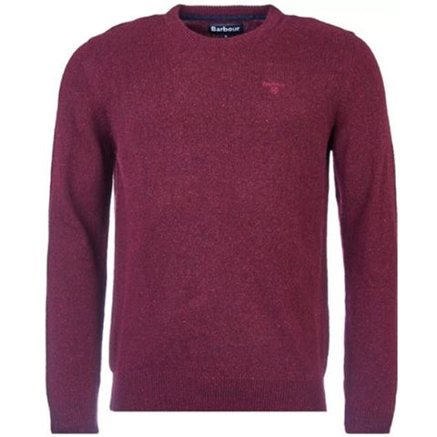 Barbour Sweater-Tisbury Crew Neck-Ruby-MKN0844RE56 flat