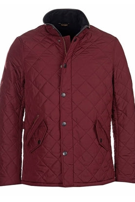 Barbour Powell Mens Quilted Jacket-Bordeaux-MQU0281RE91