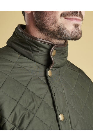 Barbour Powell Mens Quilted jacket -Sage/Olive-New-MQU0281GN72 collar