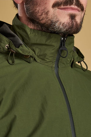 Barbour Rosedale-Mens Jacket- Waterproof Breathable-Rifle Green-MWB0680GN51 collar