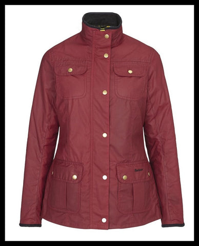 Barbour Morris Utility Ladies Red Wax Jacket With Golden Lily Lining.