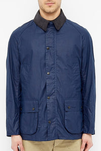 Barbour Ashby-LW Wax Jacket-Indigo/Navy-MWX1377IN51 collar