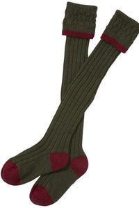 Barbour Socks-Contrast Gun Stockings-Full Length-Olive Cranberry-MSO0003OL53 turnover