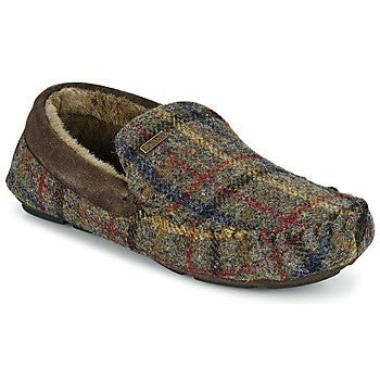 Barbour Monty Slippers in Olive Moons tartan MF00217OL52