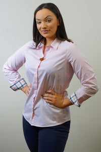 Barbour Ladies Shirt-Portsdown-Pale Pink-LSH1206PI35 waist