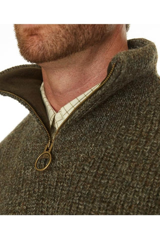 Barbour Sweater-New Tyne-Half Zip-Chunky Knit-Derby Tweed-MKN0790KH71 collar