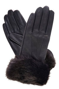 Barbour Glove-Fur Trim-Black Leather-LGL0043BK11 leather