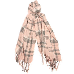 Barbour Scarf Boucle-Wrap-Pink/Grey-LSC0130PI31 knot