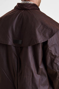 Barbour Stockman Long Wax Coat - Rustic Brown - MWX0006BR71 - Back Detail