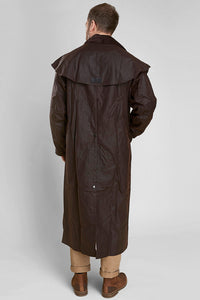 Barbour Stockman Long Wax Coat - Rustic Brown - MWX0006BR71 - Modelled Back View