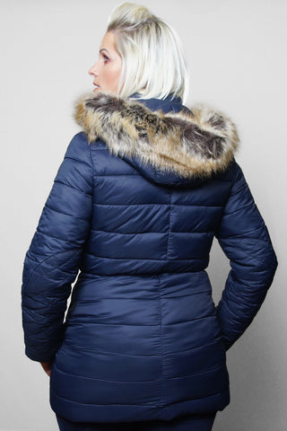 Barbour Ladies Redpoll Quilt Jacket - Navy - LQU0975NY71 - Modelled Back