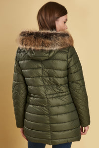 Barbour Ladies Redpoll Quilt Jacket - Olive - LQU0975OL51 - Back View