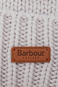 Barbour Cable Hat and Scarf Set - Ice White - LAC0142GY11 - Badge Detail