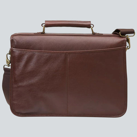 BARBOUR BRIEFCASE - DARK BROWN LEATHER UBA0011BR71 - Back View