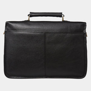 BARBOUR LEATHER BRIEFCASE - BLACK - UBA0011BK111 - Back View