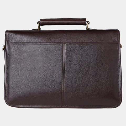 BARBOUR LEATHER BRIEFCASE - CHOCOLATE BROWN - UBA0011BR91 - Back View