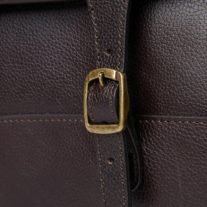 BARBOUR LEATHER BRIEFCASE - CHOCOLATE BROWN - UBA0011BR91 - Buckle Detail