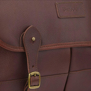 BARBOUR BRIEFCASE - DARK BROWN LEATHER UBA0011BR71 - Buckle & Badge Detail