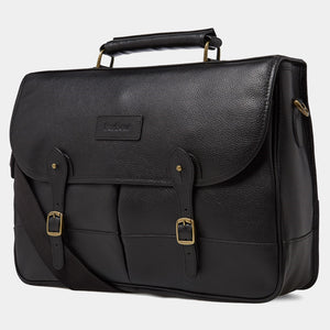 BARBOUR LEATHER BRIEFCASE - BLACK - UBA0011BK111 - Front & Side Profile