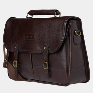 BARBOUR LEATHER BRIEFCASE - CHOCOLATE BROWN - UBA0011BR91 - Front & Side Profile