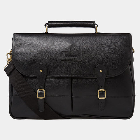 BARBOUR LEATHER BRIEFCASE - BLACK - UBA0011BK111 - Front View